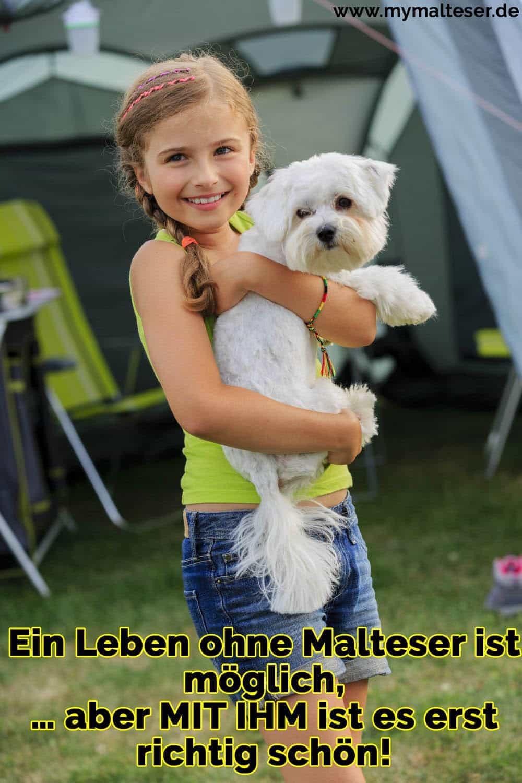 Ein Mädchen umarmt ihren Malteser